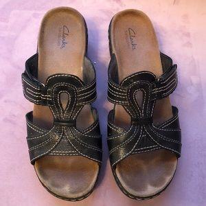 Clarks Black Slip On Sandals